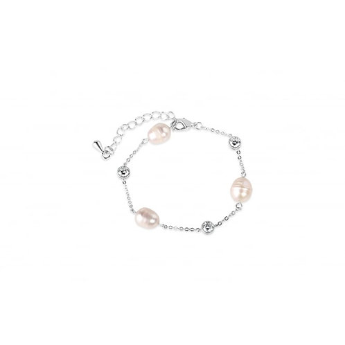 Lovely Rhodium Plated Fresh Water Pearl Brace