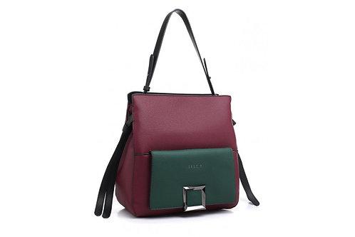 Two Colour Red Shoulder Bag