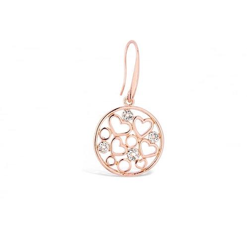 Rose Gold Heart & Circle Drop Earrings