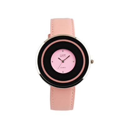 Pink Circular Flat Case Watch