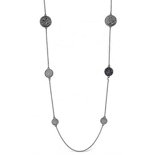 Long Gun Metal Necklace With Pendant Circles