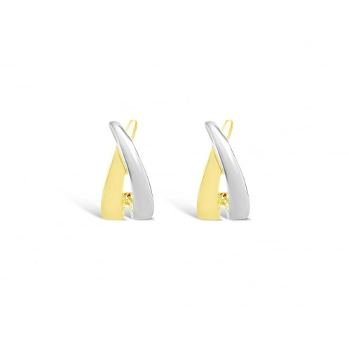 Rhodium & Gold Plated Stud Earrings