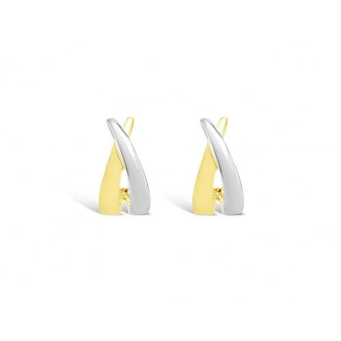 Rhodium & Gold Plated Stud Earrings