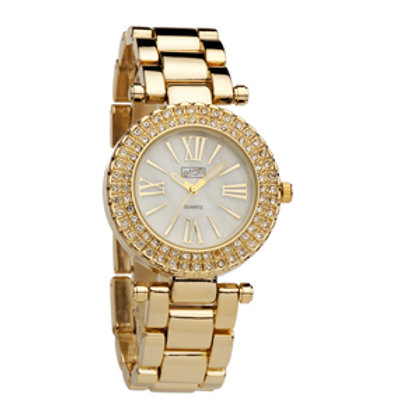 Gold Diamante Ladies Wrist Watch