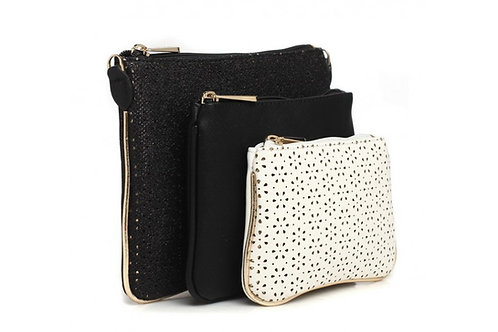 Black & White Trio Cosmetic Bag Set