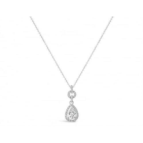 Cubic Zirconia Pendant With Rhodium Plating Necklace