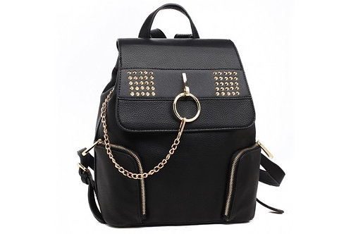 Black Chain Stud Backpack