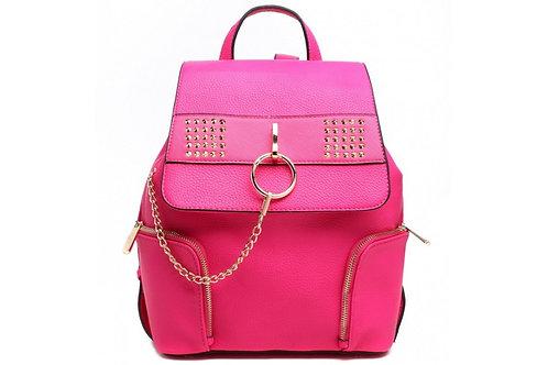 Fuschia Pink Chain Stud Backpack