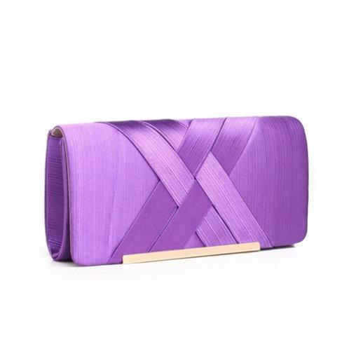 Purple Cross Pleat Clutch Bag
