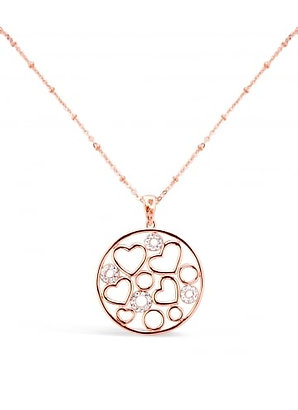Rose Gold Heart & Crystal Filigree Necklace