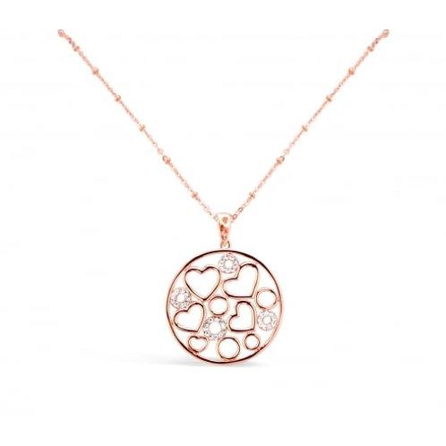 Rose Gold Heart & Crystal Filigree Necklace