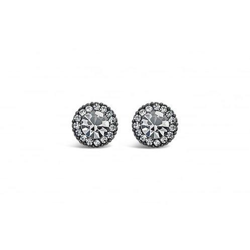 Gun Metal Stud Earrings With Crystal Stones