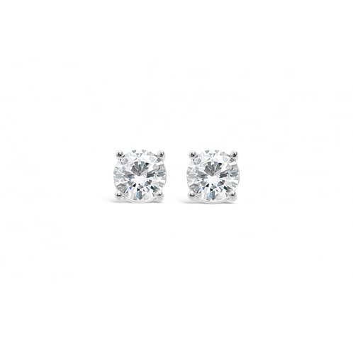 Rhodium Plated Earrings With Cubic Zirconia Stones