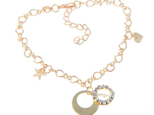 Gold Plated Star & Heart Charms Anklet