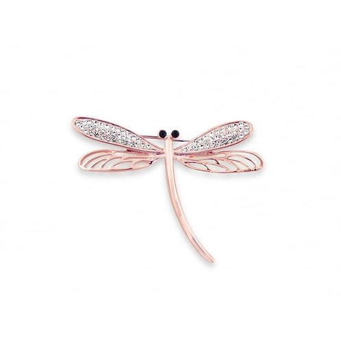 Rose Gold Dragon Fly With Crystal Wings