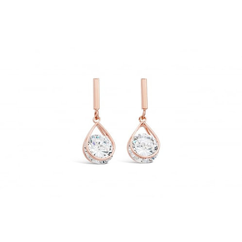 Rose Gold Plated Cubic Zirconia Drop Earrings