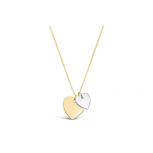 Double Heart Gold & Rhodium Plated Necklace