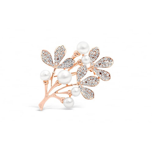 Rose Gold Leaf Flower Brooch