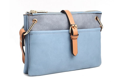 Blue Satchel Style Cross Body Bag
