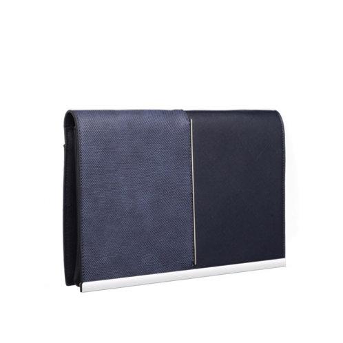 Double Textured Blue Clutch Bag