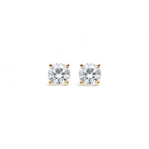 Classic Single Stone Gold Plated Earrings