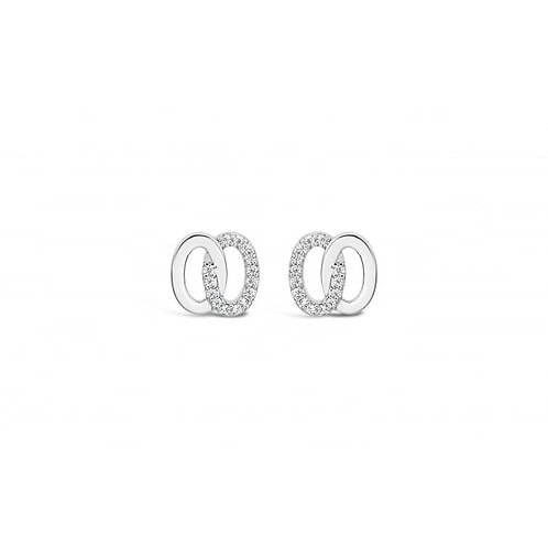 Double Ring Cubic Zirconia Rhodium Earrings