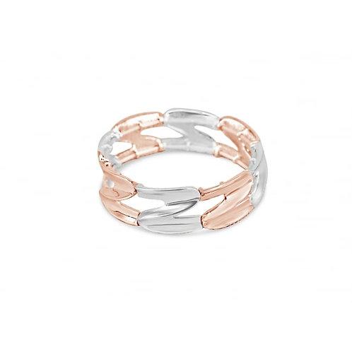 Silver & Rose Gold Plated Elasticated Bracelet