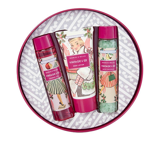 Vintage & Co. Baubles & Belles Festive Bath and Body Tin Gift Set