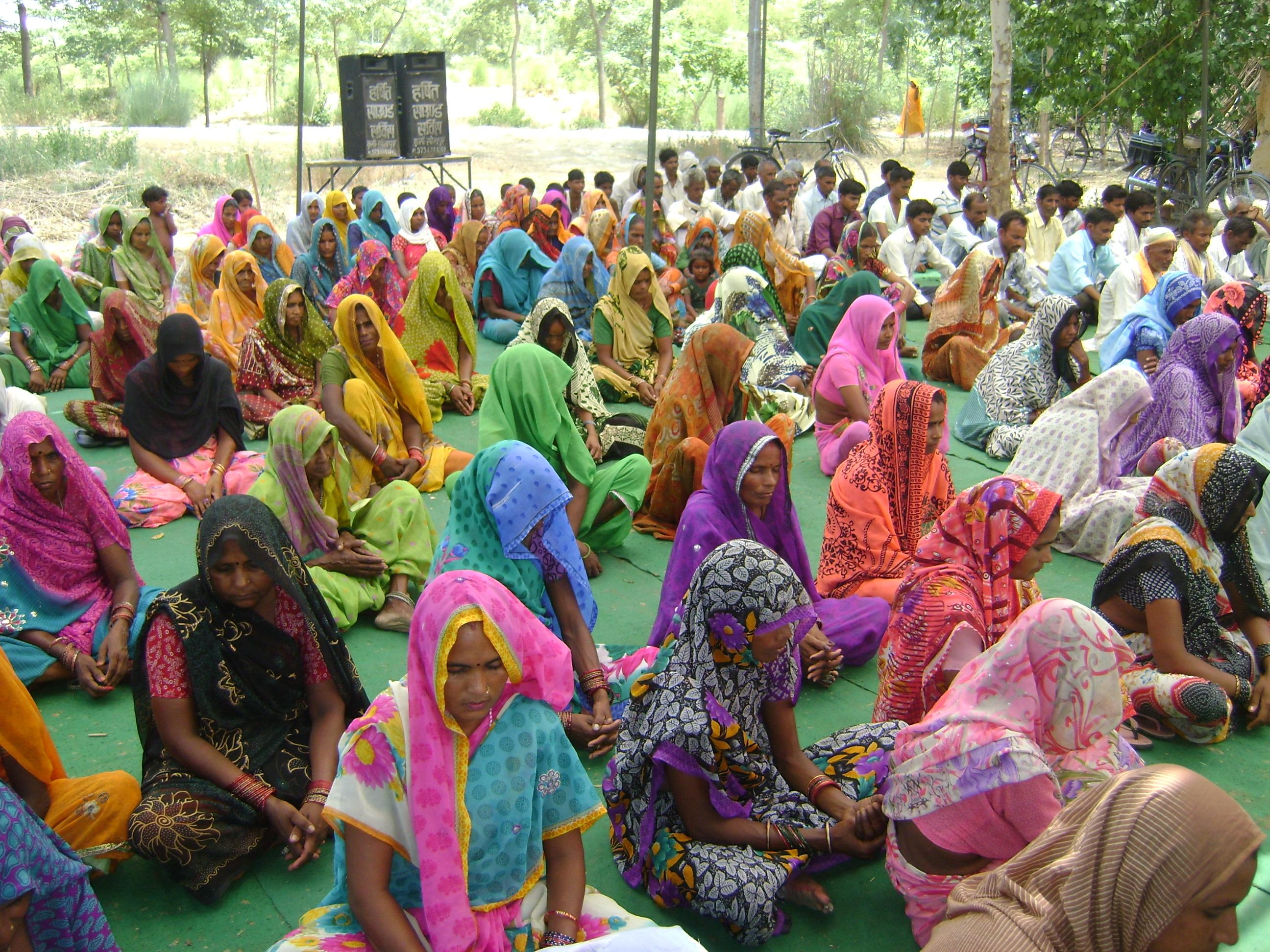 Meditation  during camp on International Yoga day