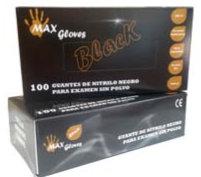 Guantes  Nitrilo negro  Sin polvo.  Caja de 100 Guantes