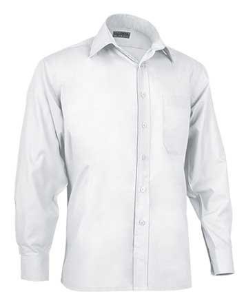 Camisa de hombre en tejido popelín ligero  65% poliéster 35% alg
