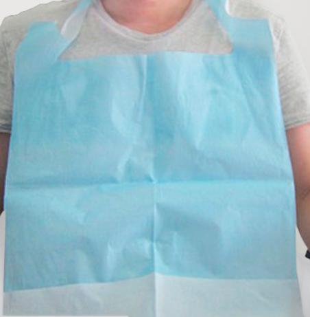 Babero celulosa gofrado, recubierto de polietileno con bolsillo.Caja 500 unidade