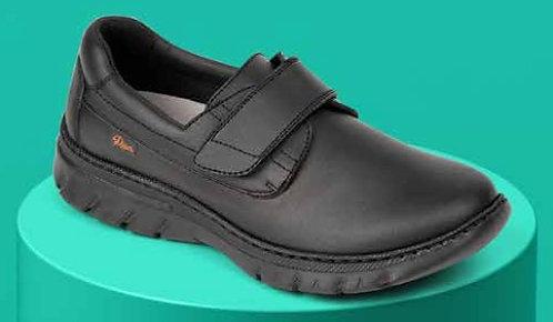 Zapato  tipo blucher cierre velcro,negro.