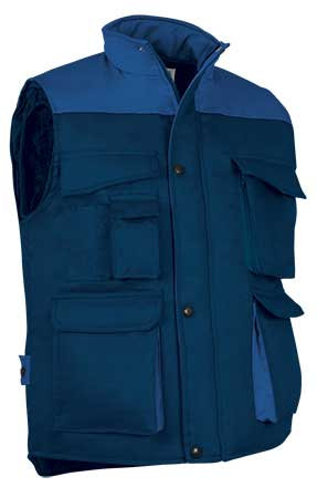 Chaleco colores combinados tejido sarga relleno acolchado y forro interior