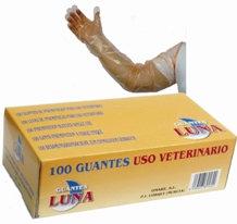Guantes de polietileno uso veterinario. Caja 10 Cajas 100Uds.(1000UD)