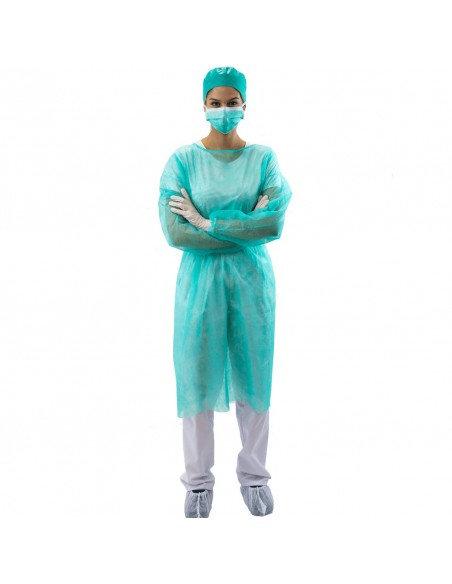Bata Paciente de polipropileno verde de 18grs.  Caja 100 Unidades