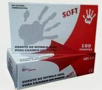Guantes de Nitrilo azul Sin polvo . Caja 10 Cajitas de 100 guantes ( 1000Uds)