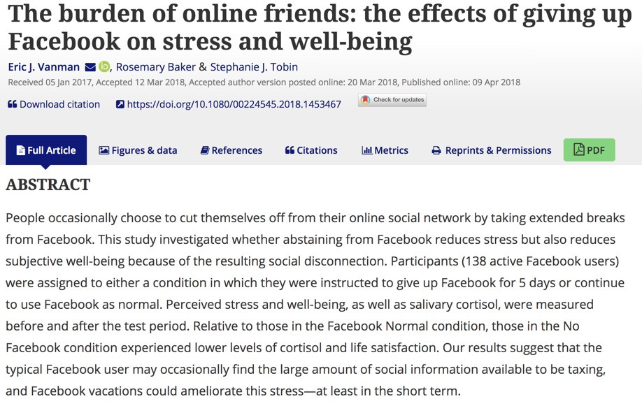 KEYWORDS: cortisol, Facebook, social networks, stress, well-being