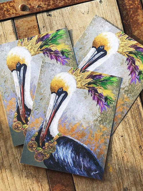 "8x10"" Mardi Gras Festin' Pelican"