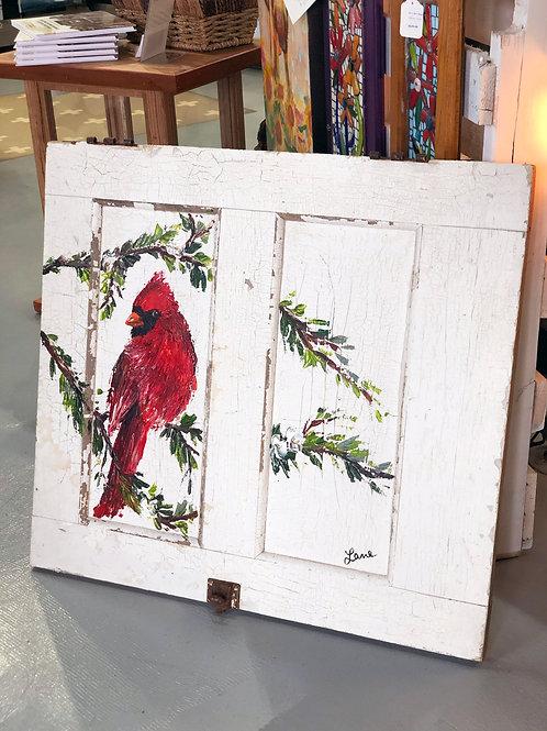 Original Cardinal on Antique Door
