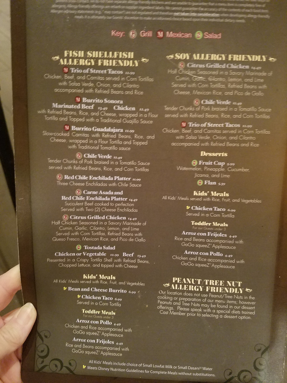 Rancho Del Zocalo Fish & Soy allergy-friendly menu