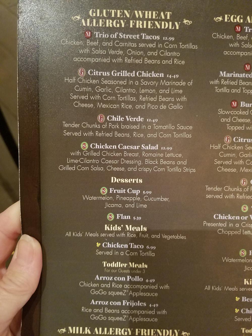 Rancho del Zocalo Gluten-free menu