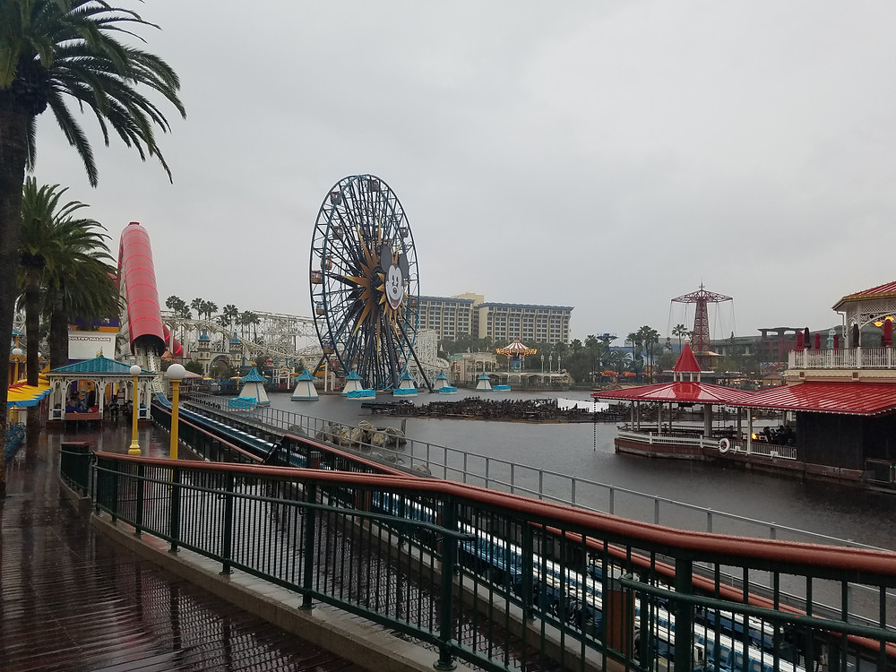 Pixar Pier in the rain, rides closed at Disney California Adventure