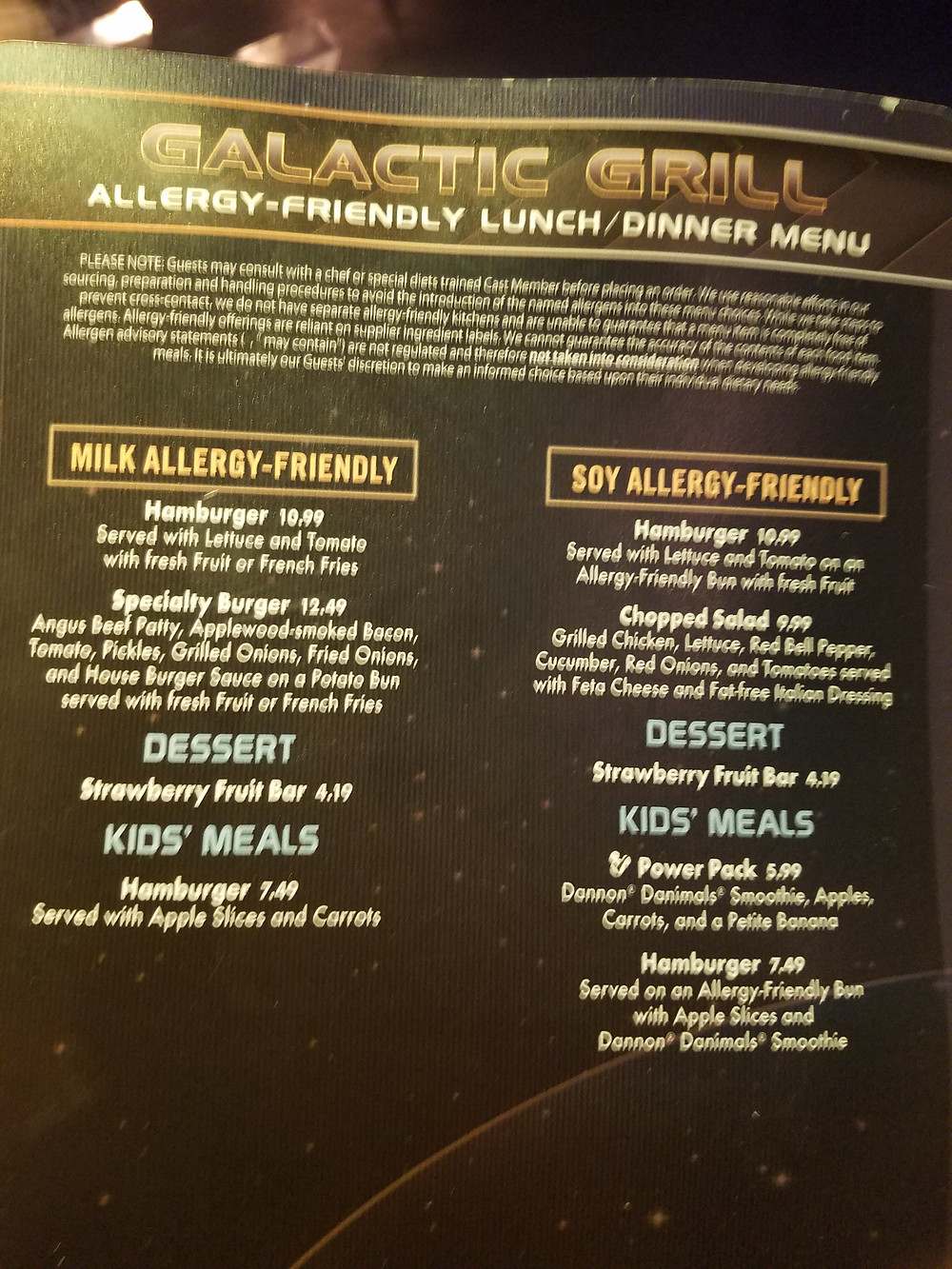 Galactic Grill Allergy-friendly menu page 1