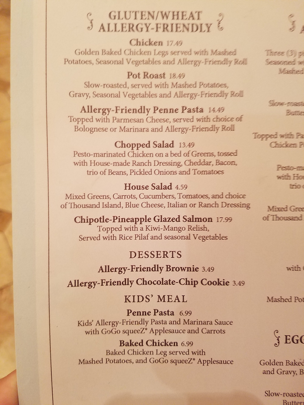 Plaza Inn Allergy-friendly menu page 2