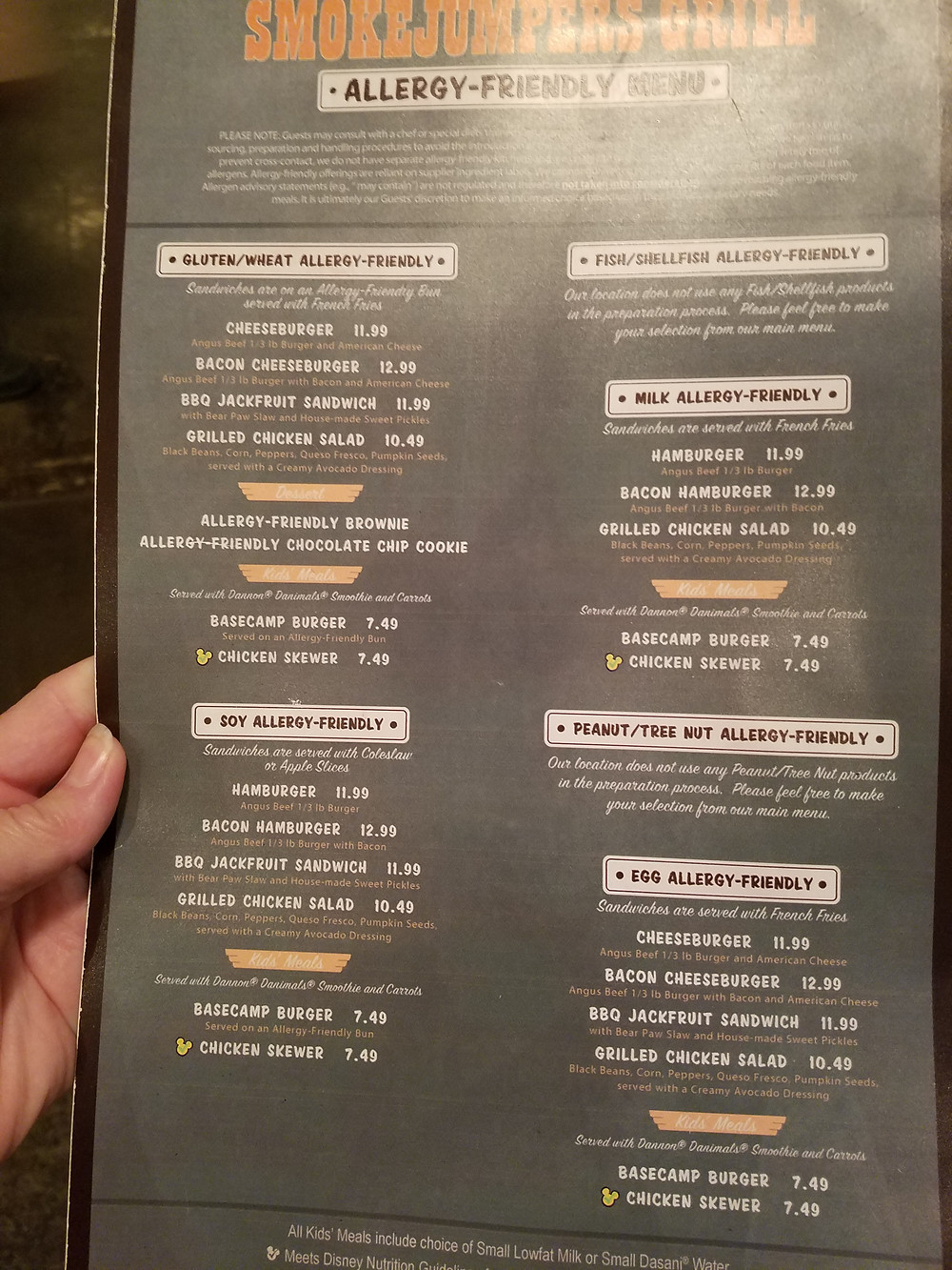SmokeJumpers Grill Allergy-friendly menu