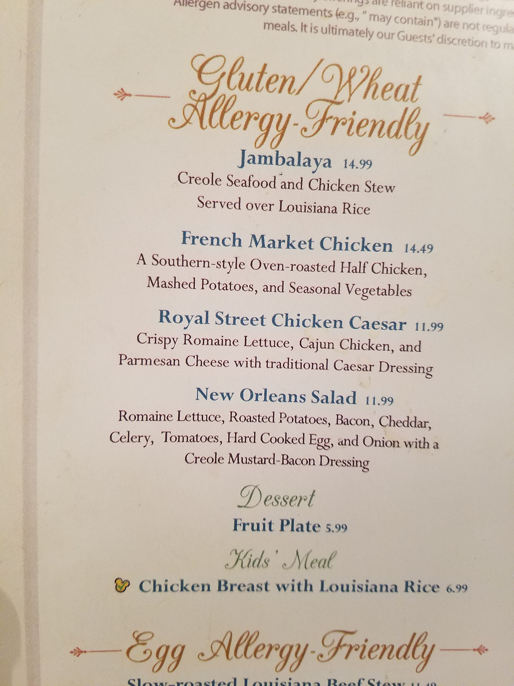 The French Market Allergy-friendly menu page 2