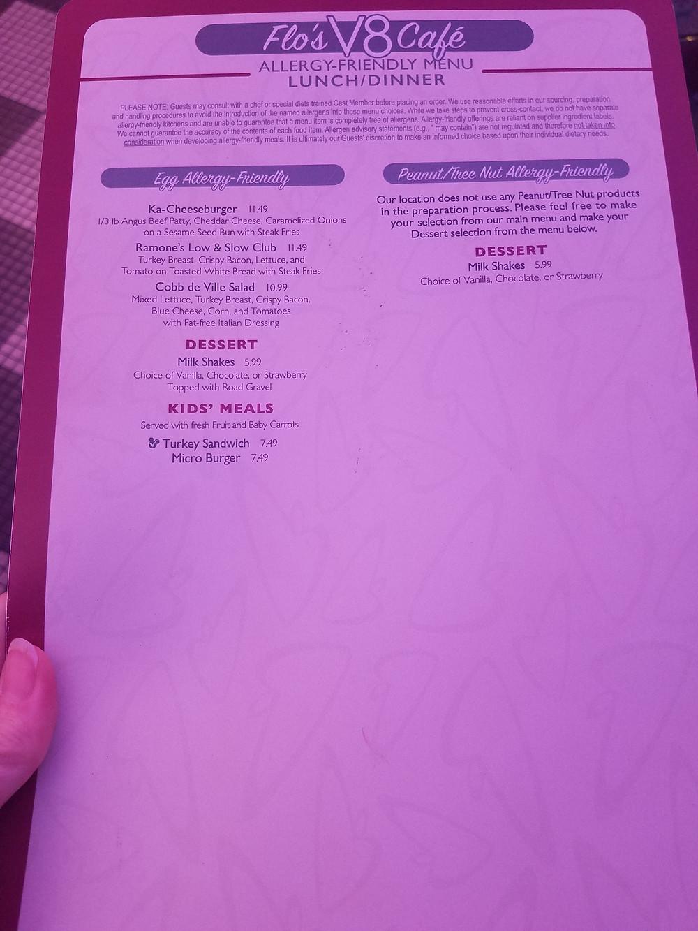 Flo's V8 Cafe Allergy-friendly menu page 2