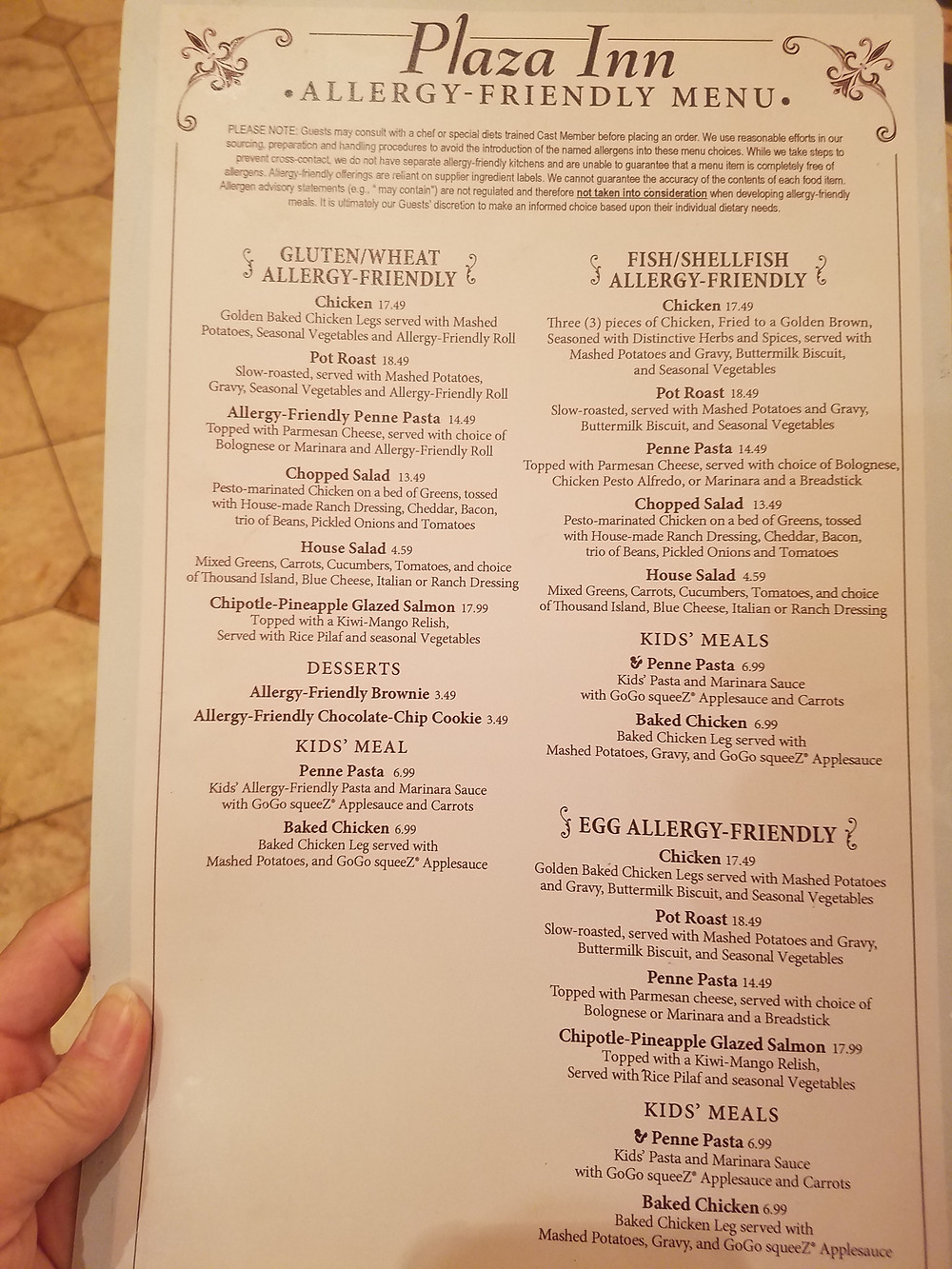 Plaza Inn Allergy-friendly menu page 1
