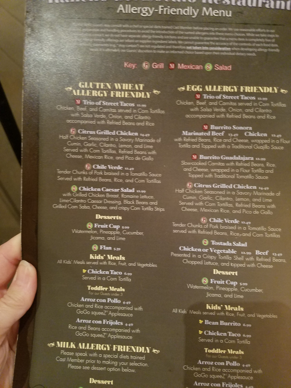 Rancho del Zocalo Gluten & egg allergy-friendly menu